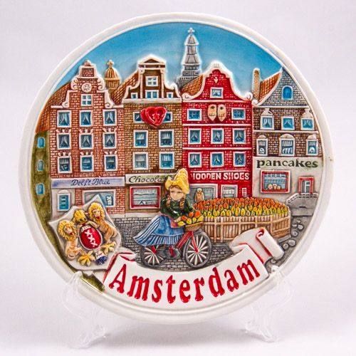 Souvenir Plate: Netherlands. Amsterdam Canal and Girl Riding Bicycle (Ceramics, Diameter 19 cm)