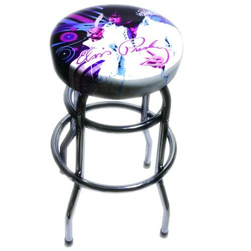 """Elvis Presley """"Fringe"""" Bar Stool- The Las Vegas Hilton booked Elvis for 58 consecutive sold-out shows, but you can still get your hands on this seat! This bar stool features art from Graceland-licensed artist Joe Petruccio, sturdy construction, and Elvis in his prime!"""