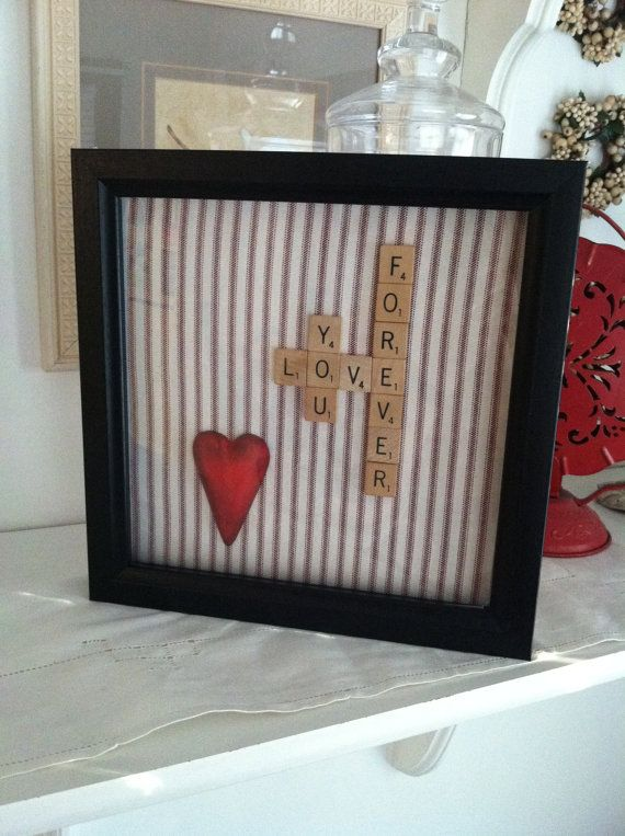 Framed scrabble heart valentine decor by jtjujubees on Etsy, $18.00