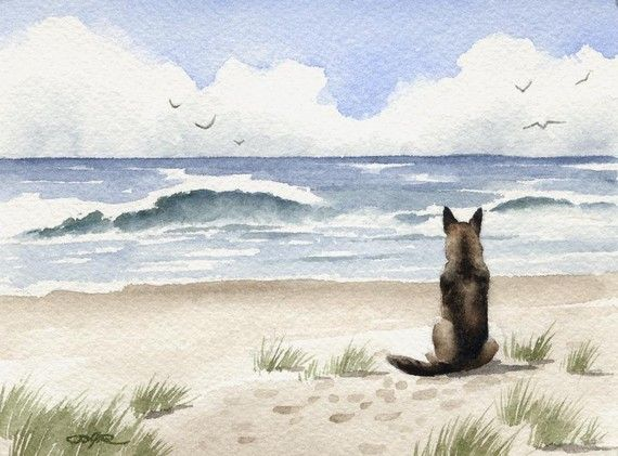 GERMAN SHEPHERD Dog Signed Art Print by Artist DJ Rogers. $12.50, via Etsy.