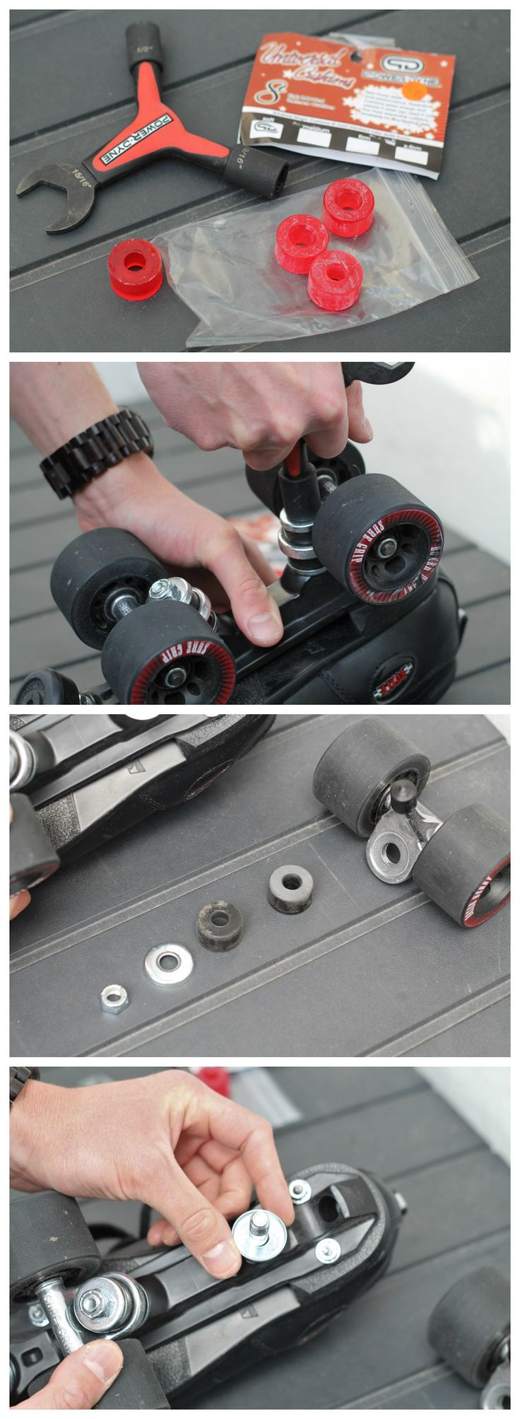 How to change your roller derby skate cushions (bushings) - part 1 (www.hellyeahrollerderby.com)