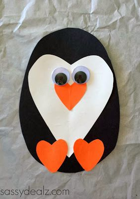 paper heart penguin craft for kids valentines
