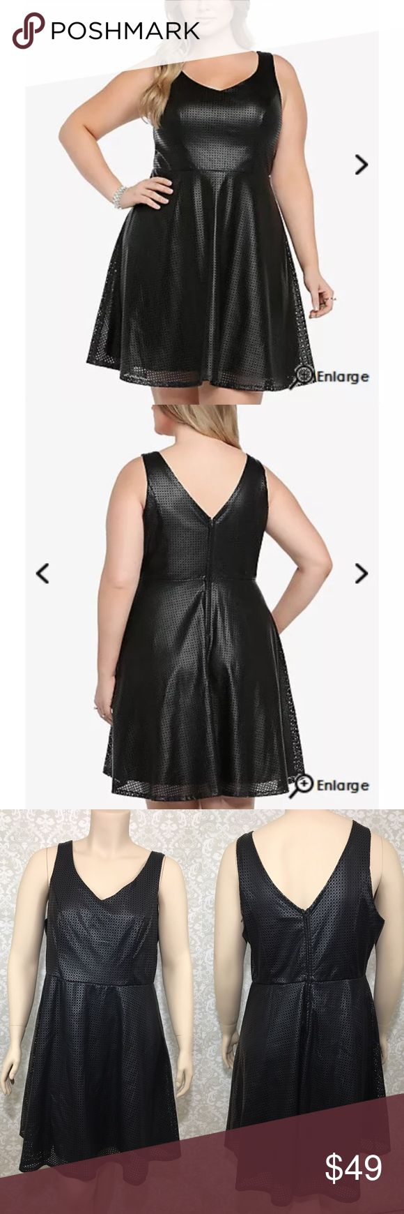 "TORRID 16 Dress Perforated Faux Leather Black TORRID Retail: $75.00 Women Plus Size 16 (I believe this dress runs big, best fit would most likely be a 16/18, rather a 14/16) Dress  Perforated  Faux Leather  Black  Sleeveless  Skater Fully Lined (stretchy lining) Overall excellent condition. Minimal to no wear seen.   All measurements are approximate and are measured laying flat. Please use measurements to determine best fit.  Top to bottom: 41"" Waist: 19"" Chest: 23"" Hip: 28"" (dress flares…"
