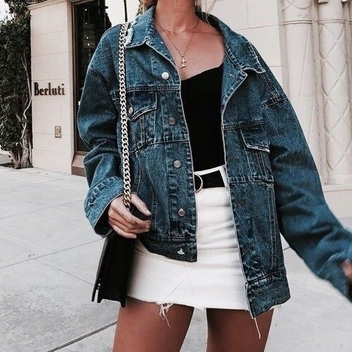 Street style: denim oversized jacket with a black tank top and white mini skirt. Super pretty casual outfit idea perfect for everyday styling.