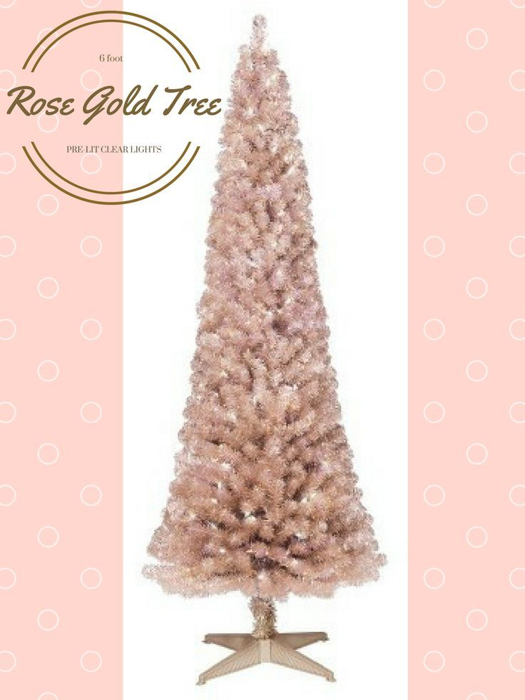 Wondershop 6ft Prelit Artificial Christmas Tree Rose Gold Slim Alberta Clear Lights - This is so pretty and feminine. On for a fantastic sale at half price.  #ad#rosegoldchristmastree