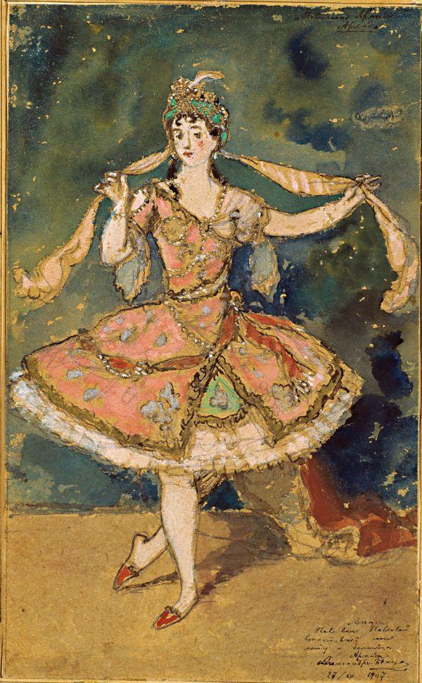 Alexander Benois, costume sketch for ballet Armida, 1907