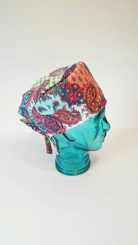 Check out this item in my Etsy shop https://www.etsy.com/listing/273196872/handmade-paisley-scrub-cap-doctors-scrub