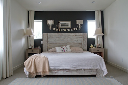 alison's modern rustic mar vista home from apartmenttherapy.com - beautiful bedroom: Beds, Bedroom Colors, Apartment, Rustic, Beautiful Bedrooms, Accent Wall