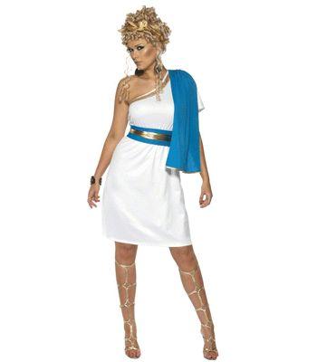 Wit met blauw romeins jurkje voor dames. Deze romeinse jurk is wit met blauw en heeft een goude rand. de riem en gouden diadeem zijn inbegrepen. De jurk valt tot op de knieen en is in verschillende maten verkrijgbaar. Carnavalskleding 2015 #carnaval