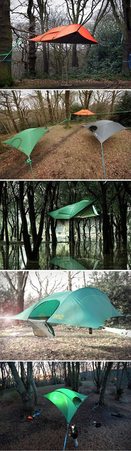 Tentsile Stingray Tent : suspended tents! That might actually entice me to go camping.
