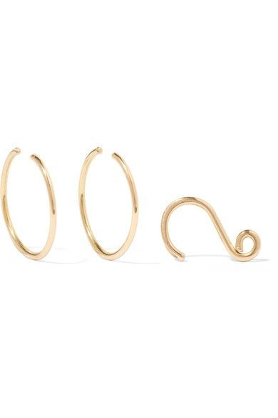 Saskia Diez - Set Of Three Wire 18-karat Gold Earrings - one size