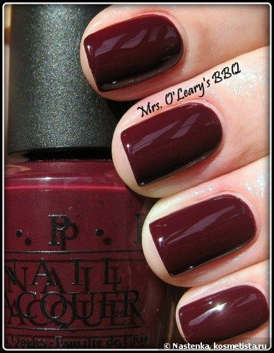 OPI - Mrs. O'Leary's BBQ (NL W44). Another fall/autumn colour; deep maroon. **BOUGHT...I THINK**
