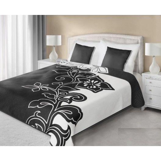 Čierno biely prehoz na posteľ obojstranný vzorovaný