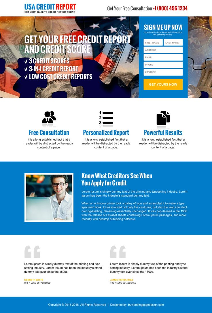 usa sign up credit report lead generating landing page design