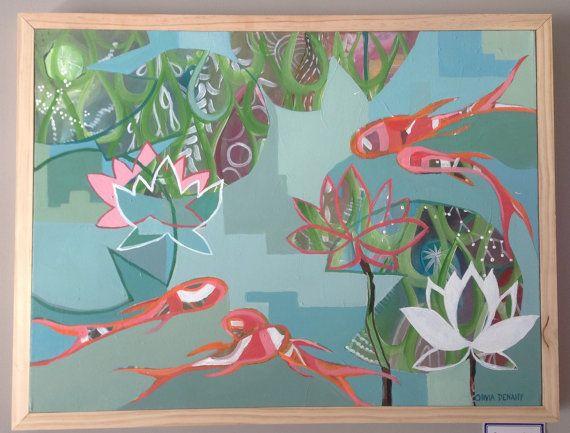 Original Painting. Aqua. Blue. Orange. Pink. by OLIVIADENAHYstudio, $380.00