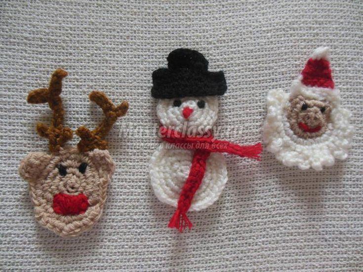 вязаные новогодние украшения. Санта Клаус, олень, снеговик