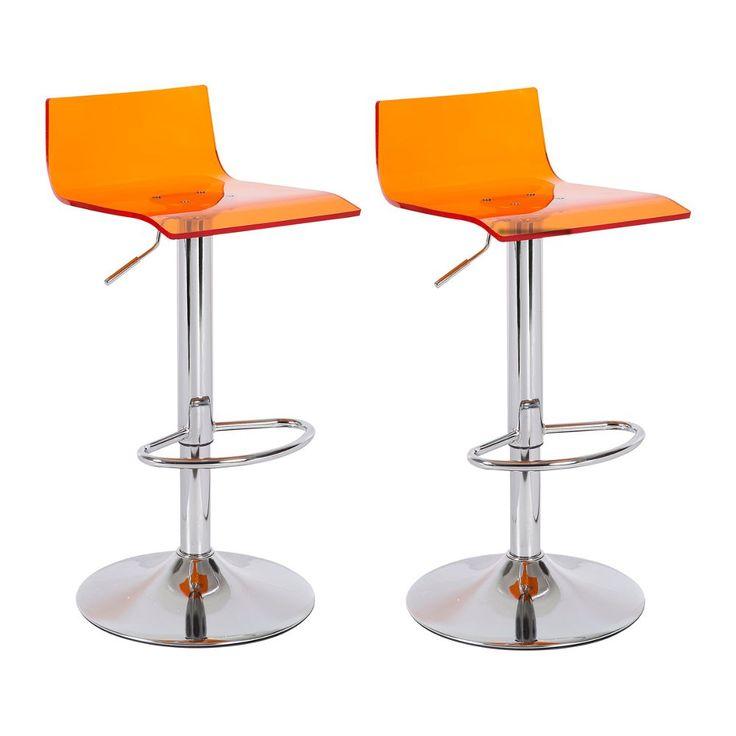 Set van 2 Arras Barkrukken Amber Transparant - OP VOORRAAD! Comfortabel door zijn rugsteun en in combinatie met een moderne transparante zitting in 5 kleuren maakt dit het perfecte model voor elke moderne keuken of beursstand. , -> Kijk snel naar deze aanbieding!