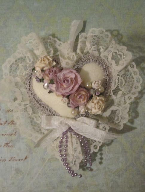 Pretty handmade, embellished heart~❥