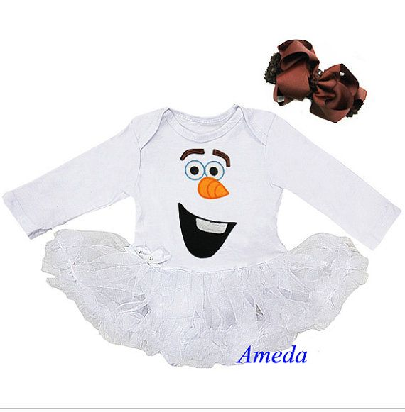 Frozen olaf tutu bodysuit with matching headband by AmedaBoutique, $26.00