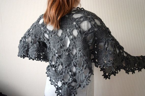 Crochet Shawl Pattern Lacy Floral Motif by BlageCrochetDesign