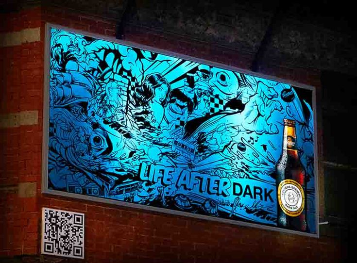 "COOPERS BEER | Life After Dark |  ""Life After Dark"", a handcrafted billboard using luminous UV paint to create a collection of images celebrating the creative types that come together once the sun has gone down. Based on the corner of Brunswick St and Rose St, Fitzroy, Melbourne, the billboard promotes Coopers Dark Ale with a blank canvas through the day and an eclectic mix of nightlife inspired imagery revealed at night."