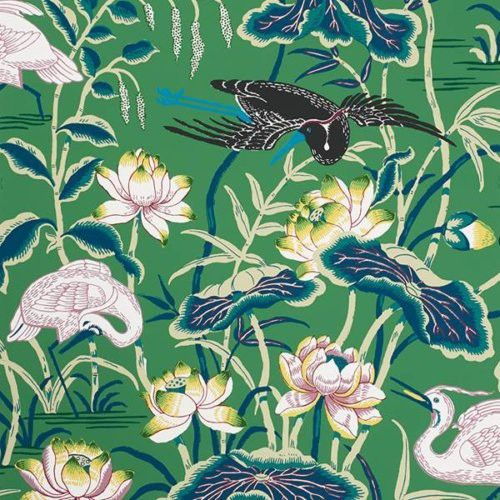 Schumacher LOTUS GARDEN JADE Wallpaper