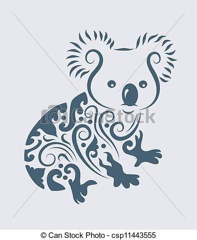 Vector - koala, Van een stam, Vector - stock illustratie, royalty-vrije illustraties, stock clip art symbool, stock clipart symbolen, logo, line art, EPS beeld, beelden, grafiek, grafieken, tekening, tekeningen, vector afbeelding, artwork, EPS vector kunst