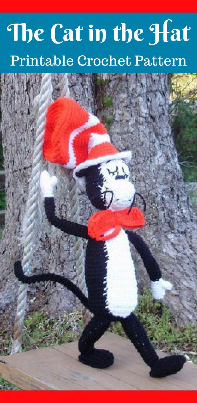 Amigurumi Cat in the Hat Crochet Pattern Printable PDF #ad #amigurumi #amigurumidoll #amigurumipattern #amigurumitoy #amigurumiaddict #crochet #crocheting #crochetpattern #pattern #patternsforcrochet #printable #instantdownload #pdf #drseuss #cat #catinthehat
