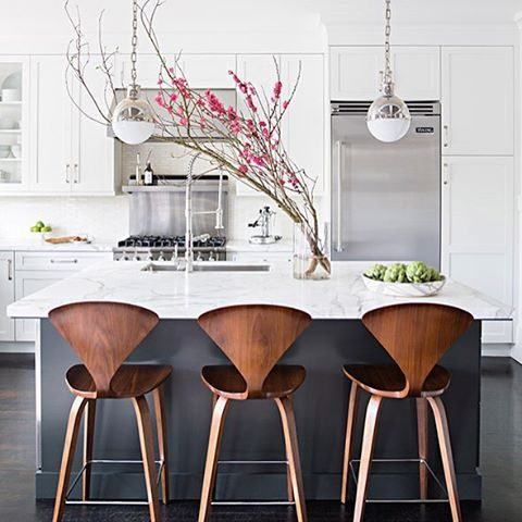 Great kitchen chairs + love the white & steel
