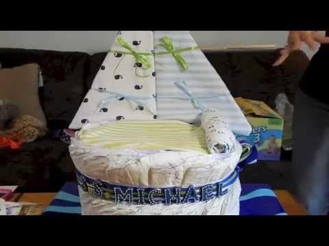 How to make a Sail Boat diaper cake - YouTube