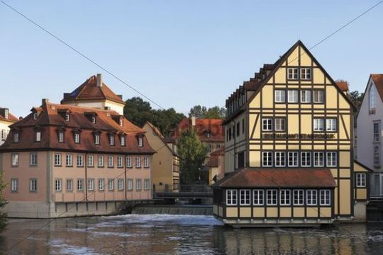 Regnitz river with Nepomuk Hotel view from Bischofsmuehlbruecke Bamberg Upper Franconia Franconia Bavaria Germany Europe PublicGround