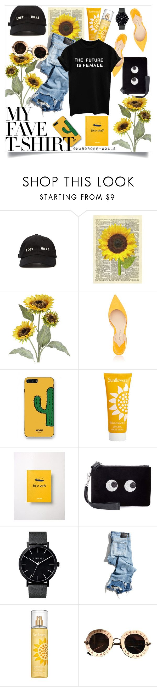 """Untitled #98"" by wardrobe-goals ❤ liked on Polyvore featuring Yeezy by Kanye West, Pier 1 Imports, Paul Andrew, WithChic, Elizabeth Arden, Bobo Choses, Anya Hindmarch, R13, Gucci and sunflowers"