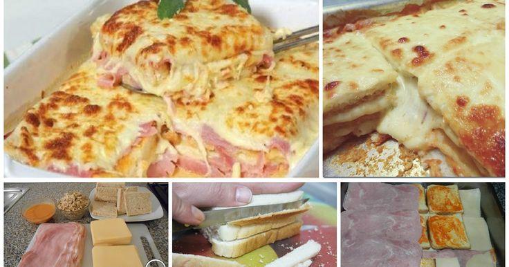Lasagne di pane al prosciutto cotto, una ricetta super veloce, che piacerà e tutta la famiglia ! Un primo piatto filante e profumato con mozzarella e prosciutto cotto.