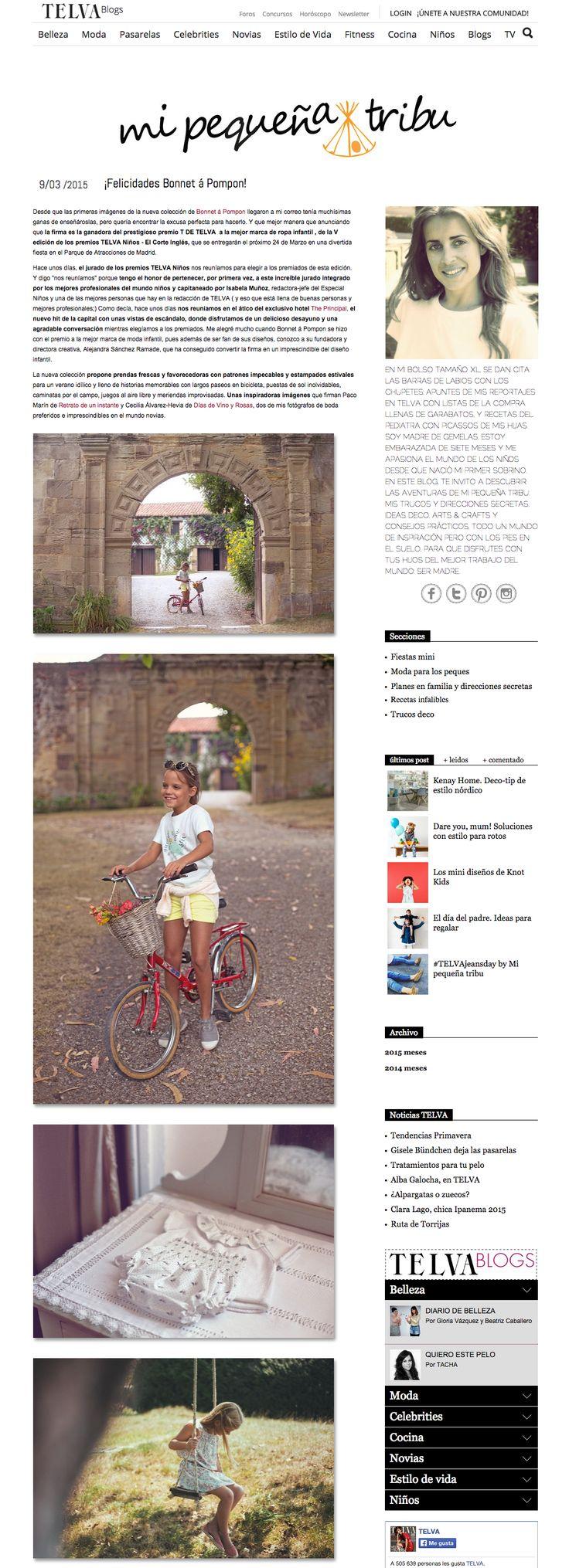 "Featured in Telva's blog ""Mi pequeña tribu"" together with Retrato de un Instante || http://www.telva.com/blogs/mi-pequena-tribu/2015/03/09/felicidades-bonnet-a-pompon.html"