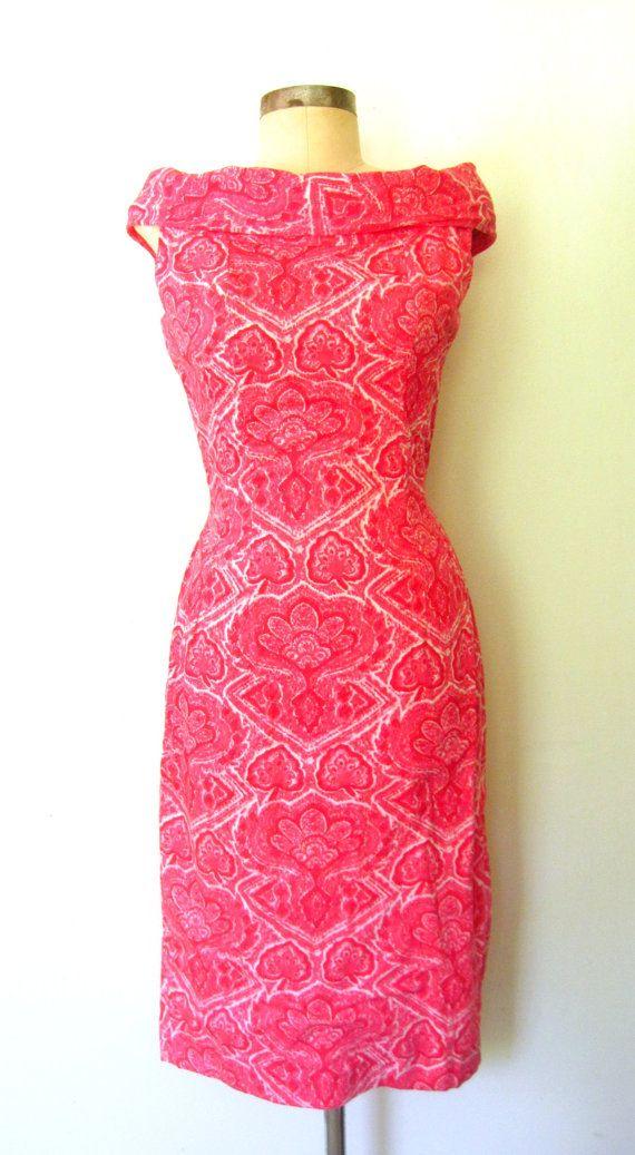 1960s PINK BATIK Cotton Wiggle Dress