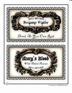Printable potion bottle labels.. WARNING: you can't save these images, just print from the website.