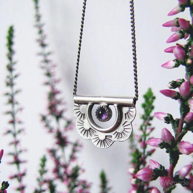 www.polandhandmade.pl - My tiny pendant with the amethyst would remind nice autumn feelings. - #polandhandmade #amadestudio #Pendant #silverjewellery #silversmithing #metalart #handcraftedjewelry #handmade #silvernecklace #tinyjewelry