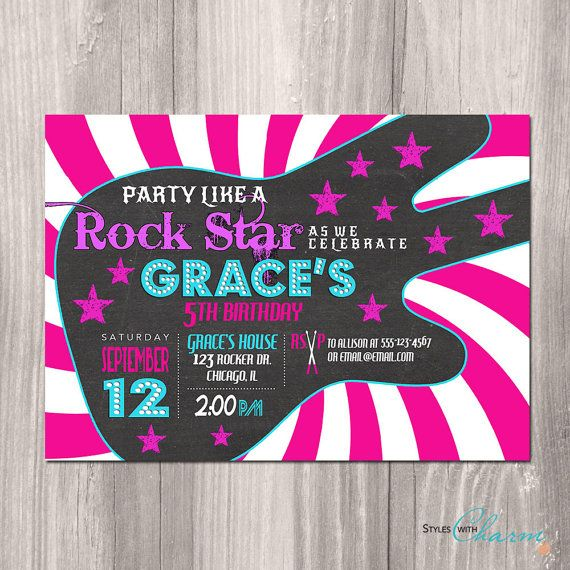 Rock Star Birthday Invitation Girl Rock Star von StyleswithCharm