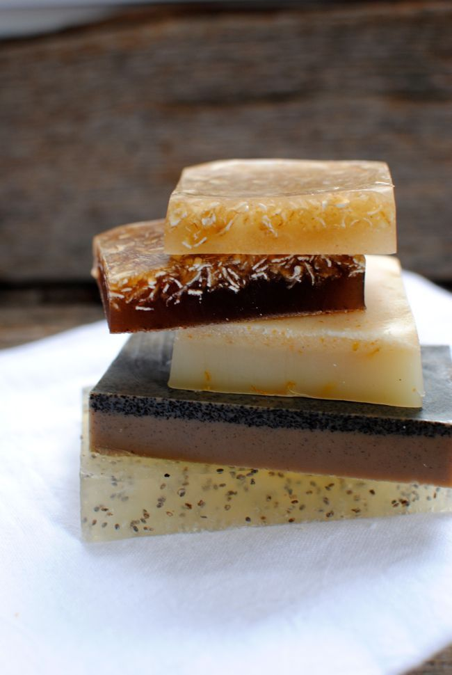 4 Naturally Exfoliating Homemade Soap Recipes that use aloe, coffee, cinnamon, Chia seed, and oatmeal to keep you smelling clean and feeling fresh.
