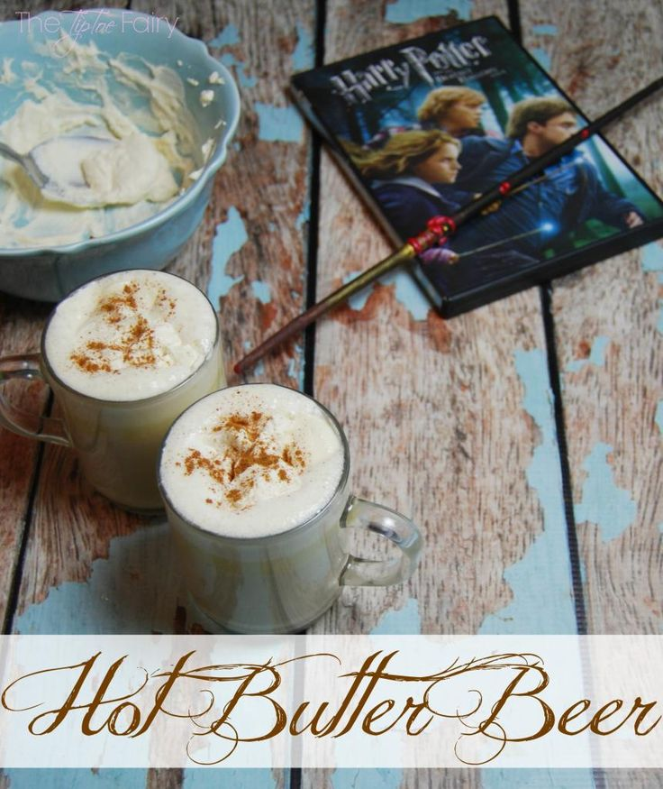 Hot Butter Beer for Harry Potter movie watching.  A mug of this stuff tastes just like you're drinking brown sugar fudge.  It's a truly delicious drink.  Great for holidays and Christmas and more. From The TipToe Fairy #harrypotter #butterbeer