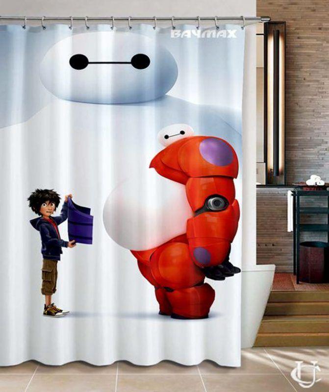 Disney Big Hero 6 Baymax Hiro Movie Shower Curtain At Cool Shower Curtains Cheap Shower Curtains Personalized Shower Curtain
