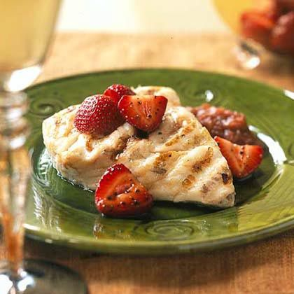 Grilled Pacific Halibut with Rhubarb Compote and Balsamic Strawberries