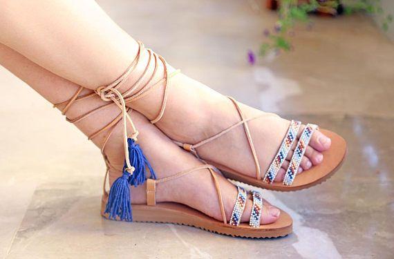 greek sandals leather sandals bohemian clothing boho style