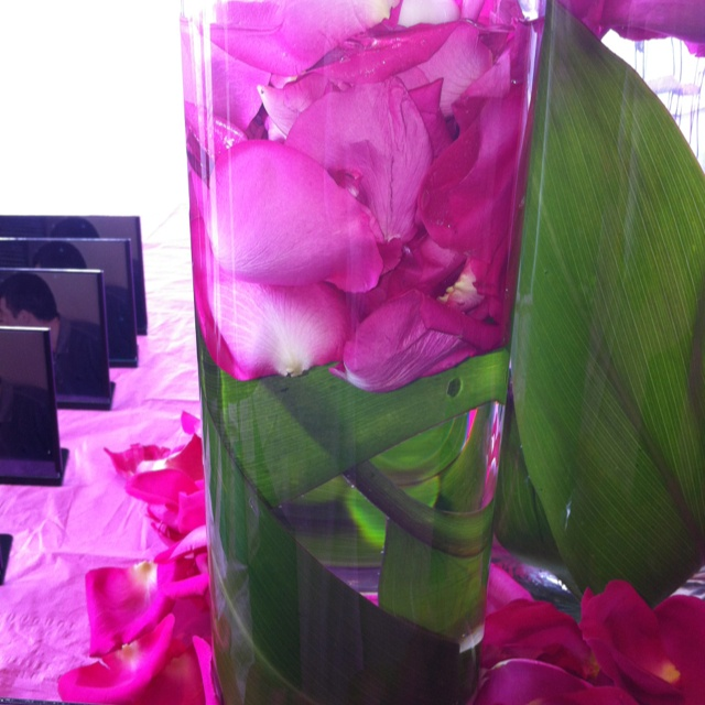 Perfect Bridal Shower Arrangements ~ Banana leaves & Rose Petals & Floating Candles.