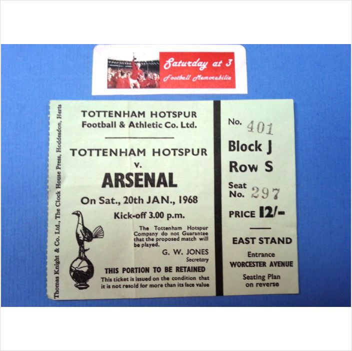Tottenham Hotspur v Arsenal Football Ticket Stub 20/01/1968 League Division 1