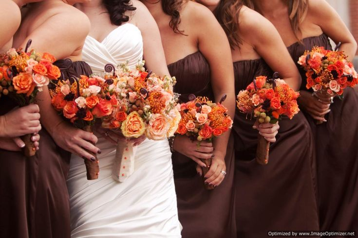 brown and orange wedding parties | ... stems with chocolate brown ribbon and accented with orange pearl pins