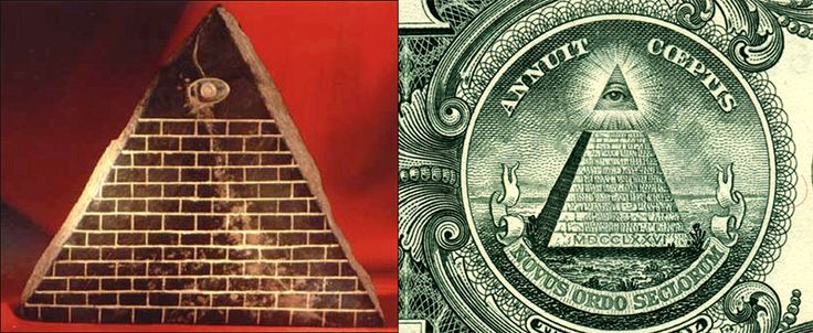 "A pyramid artifact found in Ecuador in the 1980s. Underneath this pyramid is a pre-sanskrit that has been found in many ancient artifacts around the world that translates to ""The son of the creator."" Along with dots that make up Orion's Belt. Then we have the famous ""illuminati"" pyramid on the back of the dollar bill. Both have thirteen steps with an all seeing eye at the top."
