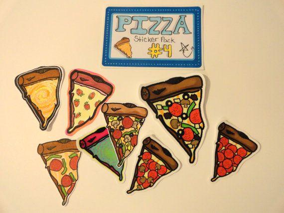 8 pizza stickers vinyl hand drawn street art slaps cutecoolawesome