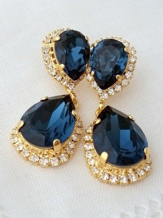 Navy blue Chandelier earrings Drop earrings by EldorTinaJewelry | http://etsy.me/1EQdvu7