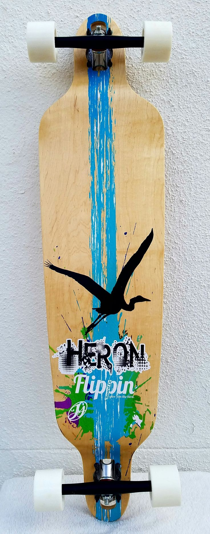 Bottom Graphic  View of our Hot Selling Flippin Board Co Bamboo Drop Down Drop Through Longboard! Paris Trucks, Punked Wheels, Reds Bearings, And A Sweet Design By Local Florida Artist Gillian Hatcher  . #longboarding #longboards